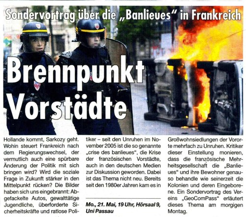 """Artikel: """"Banlieues"""" in Frankreich aus der Am Sonntag"""